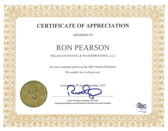Certifications – Pegasus Painting & Waterproofing, LLC.